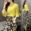 Lady Ribbon Online เสื้อผ้าแฟชั่นออนไลน์ขายส่ง เลดี้ริบบอนของแท้พร้อมส่ง sevy เสื้อผ้า SV04240716 &#x1F389Sevy Two Pieces Of Yellow Blouse With Flora Layer Skirt Sets thumbnail 2