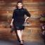 lace striped dress เดรสทรงคอเชิ้ตแขนยาวเลยศอก thumbnail 4