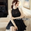 Lady Ribbon Chiara Sexy Elegant Layered Black Chiffon Dress thumbnail 3