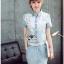 Lady Ribbon Online ขายส่ง เสื้อผ้าออนไลน์ ของแท้ ราคาถูกพร้อมส่ง เลดี้ริบบอน LR09140716 &#x1F380 Lady Ribbon's Made &#x1F380 Chanel White Lace Denim Shirt Dress with Belt thumbnail 2