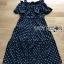 Lady Ribbon Cotton Dress เดรสผ้าคอตตอนลายจุดสีขาว-ดำ thumbnail 7