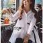 Lady Ribbon Online เสื้อผ้าออนไลน์ขายส่ง Lady Ribbon เสื้อผ้า LR12180816 &#x1F380 Lady Ribbon's Made &#x1F380 Lady Lauretta Minimal Chic Poplin Cotton Long Shirt with Ribbon เชิ้ตยาวผ้า thumbnail 3