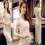 ชุดเดรสเกาหลีผ้าลูกไม้เนื้อดีแฟชั่นหนาสวย thumbnail 1