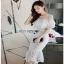 Lady Ribbon Ruffle Lace Dress เดรสชีฟองสีขาว thumbnail 3