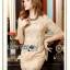 Lady Ribbon Online ขายส่งเสื้อผ้าออนไลน์ เลดี้ริบบอน LR16280716 &#x1F380 Lady Ribbon's Made &#x1F380 Lady Kate Elegant Chic Gold and Pink Lace Dress เดรสผ้าลูกไม้สี thumbnail 5