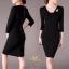เสื้อผ้าคอวีแฟชั่นเกาหลีสีดำ thumbnail 1