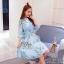 2Sister Made, Sweet Lovely Cuties Blue Wonder Dress เดรสสั้นลุคสาวหวาน ผ้าchiffonพริ้วบางเบาพิมพ์ลายดอกสวยทั้งตัว thumbnail 4