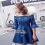 Lady Ribbon Denim Mini Dress ขายมินิเดรส thumbnail 5