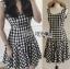 Checked Printed Apron Dress เดรสทรงเอพรอนพิมพ์ลายสก็อตสีขาว-ดำ thumbnail 2