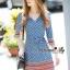 Lady Ribbon Online เสื้อผ้าออนไลน์ขายส่ง Normal Ally เสื้อผ้า,NA14220816 &#x1F389Normal Ally Present Autumn elegant graphic print V-neck swing dress&#x1F389 (เดรสพิมลายผ้าอย่างดี, มีซับในทั้งชุด) thumbnail 4