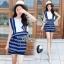 Lady Ribbon Online เสื้อผ้าแฟชั่นออนไลน์ขายส่ง เลดี้ริบบอนของแท้พร้อมส่ง sevy เสื้อผ้า SV01240716 &#x1F389Sevy Two Pieces Of Sleeveless Stripes Edge With Shorts Sets thumbnail 1