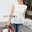 Lady Ribbon White Lace Top with Belt ขายเสื้อแขนกุด thumbnail 4