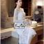 Lady Ribbon Online เสื้อผ้าแฟชั่นออนไลน์ขายส่ง เลดี้ริบบอนของแท้พร้อมส่ง Veryverypreppy เสื้อผ้า VP04240716 Luxury Floral Embroidery White Lace Dress thumbnail 3