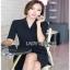 Lady Mandy Smart Minimal Drape Ribbon Black Dress ขายส่งเดรสผ้าเครป thumbnail 2