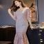 Lady Ribbon Classy Feminine Peplum Pink Lace Dress thumbnail 5