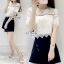 Sevy Two Pieces Of Lace Blouse With Oblique Shorts Sets thumbnail 4
