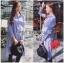 Lady Ribbon Online เสื้อผ้าออนไลน์ขายส่ง Lady Ribbon เสื้อผ้า LR12180816 &#x1F380 Lady Ribbon's Made &#x1F380 Lady Lauretta Minimal Chic Poplin Cotton Long Shirt with Ribbon เชิ้ตยาวผ้า thumbnail 2