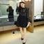 เสื้อผ้าแฟชั่นเกาหลีCliona Winter Black Lace Dress เดรสแขนยาวโทนขาวดำ thumbnail 2