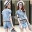 Lady Ribbon Online เสื้อผ้าออนไลน์ ขายส่งของแท้ราคาถููก LR11110716 &#x1F380 Lady Ribbon's Made &#x1F380 Lady Cindy Little Western Cowboy Denim Shirt and Shorts Set with Belt thumbnail 3