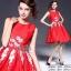 2Sister Made, Beauty Red Velvet Color Dress เดรสสั้น ลุคเรียบหรูสีแดงสด เนื้อผ้าpolyester+silkเกรดดี thumbnail 2