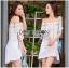 Lady Ribbon Online ขายส่งเสื้อผ้าออนไลน์เลดี้ริบบอน LR20010816 &#x1F380 Lady Ribbon's Made &#x1F380 Lady Nicole Sweet Feminine Off-Shoulder Lace and Polyester Dress thumbnail 2