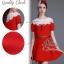 งานนำเข้าเกาหลี เซ็ตเสื้อ+กระโปรงสีแดง thumbnail 1
