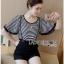 Lady Ribbon ขายส่งเสื้อผ้าออนไลน์พร้อมส่งของแท้ LR17220716 &#x1F380 Lady Ribbon's Made &#x1F380 Lady Paula Street Minimal Hearty Striped Overall Shorts Set thumbnail 4