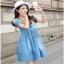 Blue Denim Dress Lady Ribbon เดรสผ้าเดนิม thumbnail 3