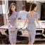 Lady Ribbon Online เสื้อผ้าแฟชั่นออนไลน์ขายส่ง เลดี้ริบบอนของแท้พร้อมส่ง Veryverypreppy เสื้อผ้า VP02240716 Luxury Classic Vintage Lace Long Dress thumbnail 4
