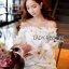 Gold Feather Embroidered Organza Dress เดรสผ้าแก้ว thumbnail 2