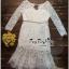 Lady Ribbon Online เสื้อผ้าแฟชั่นออนไลน์ขายส่ง เลดี้ริบบอนของแท้พร้อมส่ง Veryverypreppy เสื้อผ้า VP04240716 Luxury Floral Embroidery White Lace Dress thumbnail 4