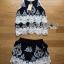 Lady Ribbon Online เสื้อผ้าออนไลน์ขายส่ง lady ribbon เสื้อผ้า LR09150816 &#x1F380 Lady Ribbon's Made &#x1F380 Lady Helena Black and White Lace Cropped Top and Shorts เสื้อแขนกุด thumbnail 5