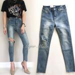 กางเกงยีนส์ทรงสกินนี่ x2 แบรนด์ดังของเกาหลี เอวสูงพอดี ทำสีสวยมาก ดีเทลขาดเข่าข้างหนึ่ง เซอร์ สวยสะดุด ผ้ายีนส์เกรด Premium