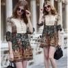 Lady Ribbon Online ขายส่งเสื้อผ้าออนไลน์ Very very pretty เสื้อผ้า VP05100816 Smart Vintage community Printed Blouse