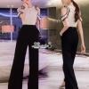 จั้มสูทดีไซน์เก๋ๆเสื้อผ้าลูกไม้สีขาวฉลุสีดำ