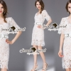 SS08010916 Seoul Secret Say's... V Ivory Lace Dress Material : เนื้อผ้าลูกไม้ปักและฉลุเป็นลายดอกไม้