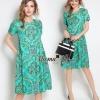 Lady Ribbon Online เสื้อผ้าออนไลน์ขายส่ง Normal Ally เสื้อผ้า,NA01220816 &#x1F389Normal Ally Present flower asian print boutique dress&#x1F389 (เดรส , กระดุมปั้มหลัง)