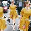 SS05010916 Seoul Secret Say's... Girly Yellow Lace Rosy Stick Dress