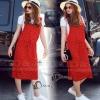Glass Long Strip Skirt Set - เซ็ตเอี๊ยมสีแดงสด