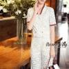 Lady Ribbon Online เสื้อผ้าออนไลน์ขายส่ง Normal Ally เสื้อผ้า,NA12220816 &#x1F389Normal Ally Present Gucci new autumn collection 2016 V-neck shirt and wide leg pant lace set&#x1F389 (เสื้อ+ กางเกงผ้าลูกไม้ , มีซับในอย่างดีทั้งชุด)