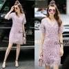 Lady Ribbon Online เสื้อผ้าออนไลน์ ขายส่ง normal ของแท้ NA08140716 &#x1F389Normal Ally Present embroider crystal neck elegant dress