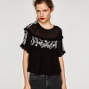 ZARA FLOWING EMBROIDERED TOP