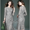 Luxurious Classic Long-sleeves Lace Dress