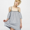 Pull&Bear Off-the-shoulder dress with tribal print ribbon