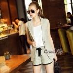 Lady Ribbon Online เสื้อผ้าออนไลน์ขายส่ง Normal Ally เสื้อผ้า,NA09220816 &#x1F389Normal Ally Present Casual cotton linen Blazer and short set&#x1F389 (Blazer + กางเกง , มีซับในอย่างดี)