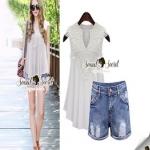 Lace Shorts Sets งานเซ็ทลุคสาวเก๋สบายๆ แบบชิลล์ๆ ตัวเสื้อสวยหวานสไตล์สาวเกาหลี