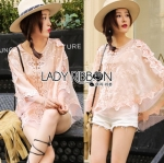 Lady Ribbon Online เสื้อผ้าออนไลน์ขายส่ง lady ribbon เสื้อผ้า Feminine Blush Lace and Blouse เสื้อผ้าคอตตอน