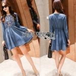 Lady Ribbon Martin Modern Tribal Embroidered Soft Denim Dress