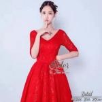 Beauty Dress เดรสลูกไม้หรูสีแดงสด เนื้อผ้าแฟชั่นลูกไม้