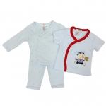 ขายส่งเสื้อผ้าเด็ก ชุดนอน 3 ชิ้น ปักลายหมีน้อยเล่นเบสบอล Size 3, 6, 9 เดือน
